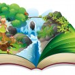 A book with an image of nature with a fairy — Imagen vectorial