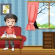 A boy writing inside the house — Imagen vectorial