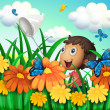 A boy catching butterflies at the flower garden — Stock Vector
