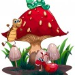 A mushroom surrounded with different insects — Stock Vector