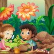 A girl and a boy looking at the plant with a magnifying glass — ベクター素材ストック