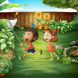 Two friends catching butterflies at the backyard — Stock Vector