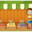 A girl selling different fruits — Stockvectorbeeld