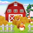 Chickens at the farm near the red barnhouse  — Stock Vector