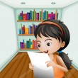 A girl reading her notes in a paper — Imagen vectorial