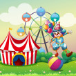 A clown balancing above an inflatable ball at the carnival — Stock Vector
