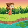 Stock Vector: Small girl at riverbank