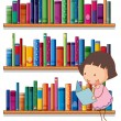 Smiling young girl reading in front of bookshelves — Stock Vector #28312525