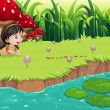 A girl at the riverbank near the red mushrooms — Stock Vector
