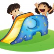Stock Vector: Boy and girl playing happily