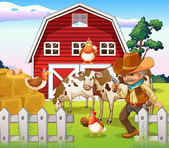 An old armed cowboy at the farm with a red barnhouse — Stock Vector