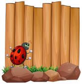 A bug on a rock near the empty signboard — Stock Vector