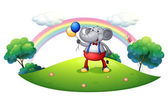 An elephant with balloons at the hilltop — Stock Vector