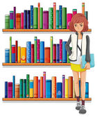 A lady holding a book standing in front of the bookshelves — Stock Vector