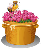 A bee with a pot of honey flying above the basket with flowers — Stock Vector