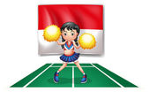 A cheerleader in front of the Indonesian Flag — Stock Vector