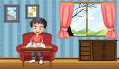 Evin içinde yazılı bir çocuk — Stok Vektör