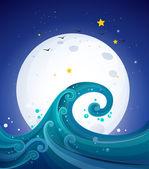 大浪下面明亮的满月 — 图库矢量图片