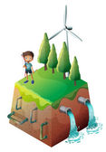 A boy holding a bow at the top of the drainage — Stock Vector