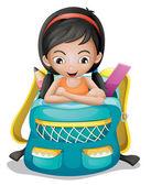 A girl inside a school bag — Stock Vector