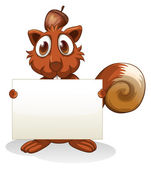 A squirrel holding an empty signboard — Stock Vector
