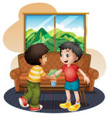 Two boys shaking hands near the sofa — Stock Vector