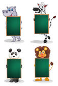 Animals with empty blackboards — Stock Vector