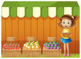 A girl selling different fruits — Stock Vector