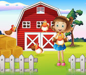 A girl holding a chicken at the farm — Stock Vector