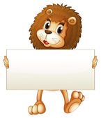 A young lion holding an empty banner — Stock Vector