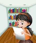 A girl reading her notes in a paper — Stock Vector