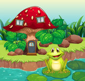 A frog above a waterlily in front of a mushroom house — Stock Vector
