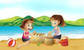 два друзей, что делает замок на пляже — Cтоковый вектор