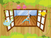 A girl performing yoga inside a house with birds at the window — Stock Vector