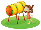 A girl looking at the rotating drum — Stock Vector