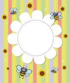Un modello vuoto progettato fiorito con api — Vettoriale Stock
