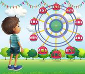 A boy watching the ferris wheels — Stock Vector