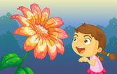 A girl playing in front of the giant flower — Stock Vector