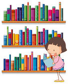 A smiling young girl reading in front of the bookshelves — Stock Vector