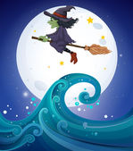 A witch above the giant waves — Stock Vector