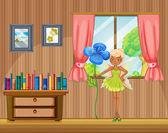 A fairy holding a flower inside the house — Stock Vector
