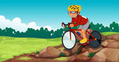 A boy biking at the rocky road — Stock Vector