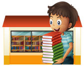 A boy carrying books outside the library — Stock Vector