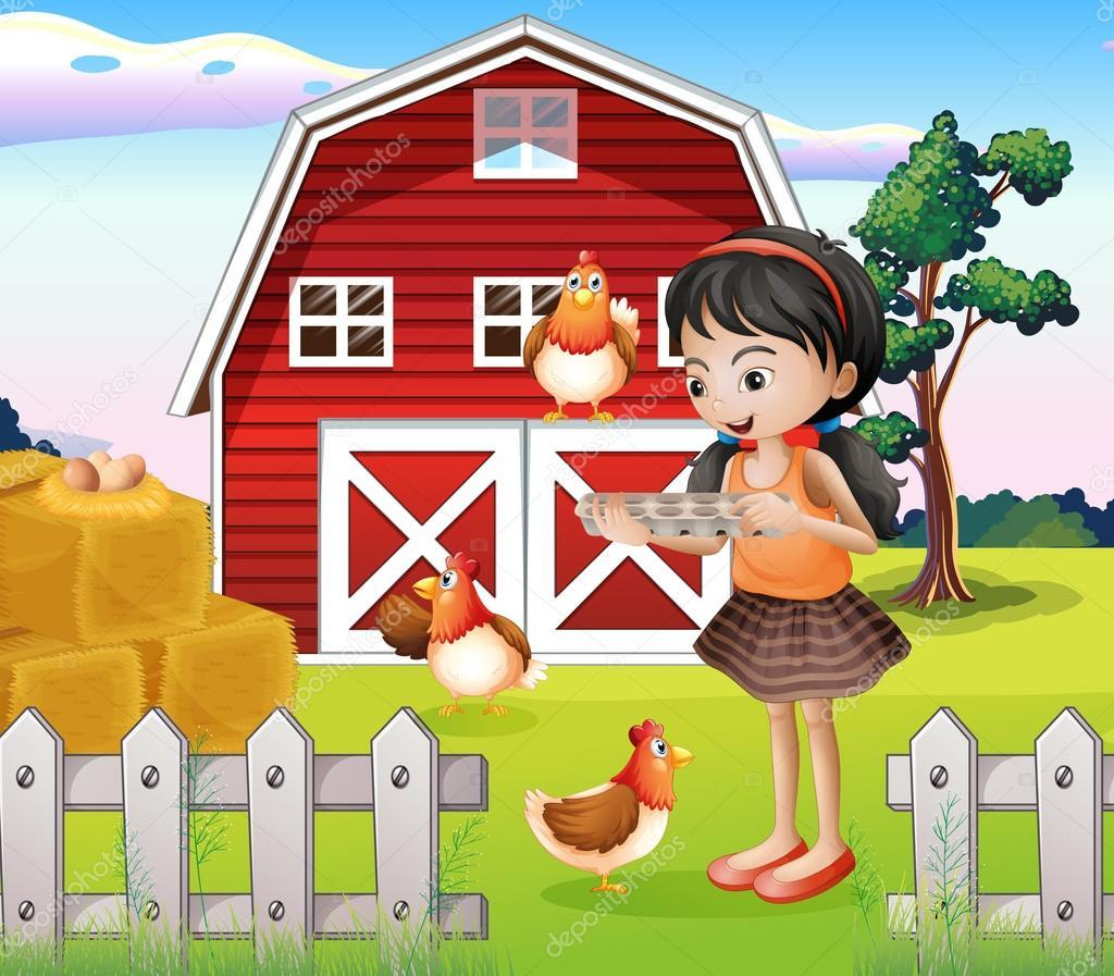 一个女孩与他们的农场动物的插图 — 矢量图片作者 interactimages
