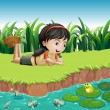 Stock Vector: Girl beside pond