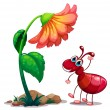 A giant flower beside the red ant — Stock Vector