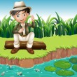 A boy sitting on a wood at the riverbank — Stock Vector