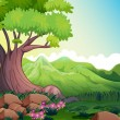 Big tree at forest — Stock Vector #28832103