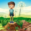 A boy standing above a stump  — Stock Vector