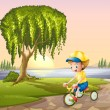 A little boy biking  — Stock Vector